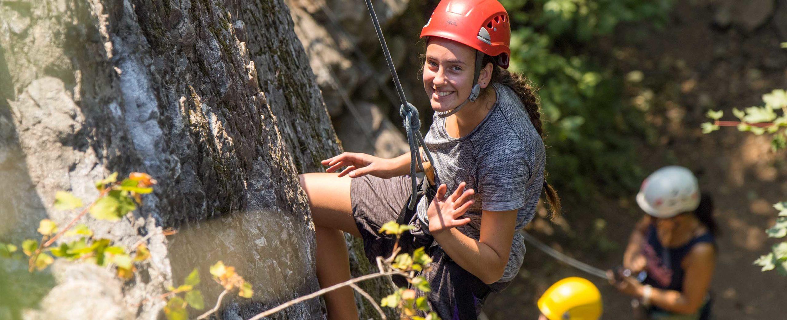 Rock climbing at Twinlow Camp in northern Idaho