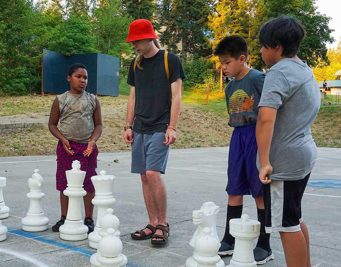 Kids playing chess