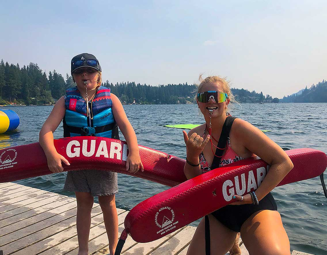 life guards in the lake