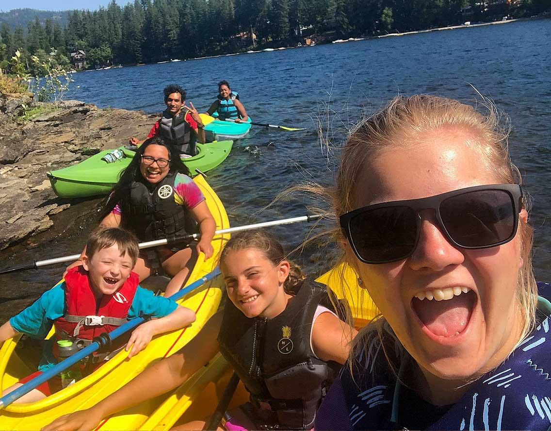 A group enjoying a kayak